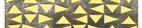 Vibrating Triangles (Gray on Yellow) relief collage by Bill Brookover