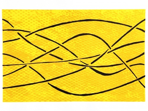 Six dark lines move and weave from left to right over varigated yellow background