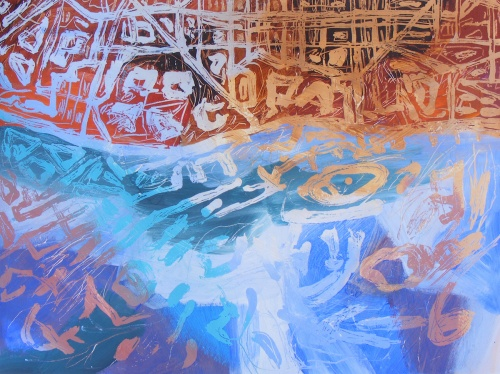 "Catalonia I, Barcelona, by Jacqueline Unanue, acrylic on paper, 2013, 18"" x 23.5"" (46 x 60 cm)"