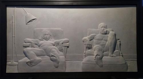 relief, sculpture, nude, woodmere, cement, domestic interior, television