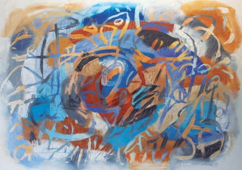 """My Ancient Land, Cueca a Pablo Neruda I, 2014, Acrylic on canvas, 57.5""""x 73.5"""", Inspired by Chilean composer  Eulogio Dávalos"""