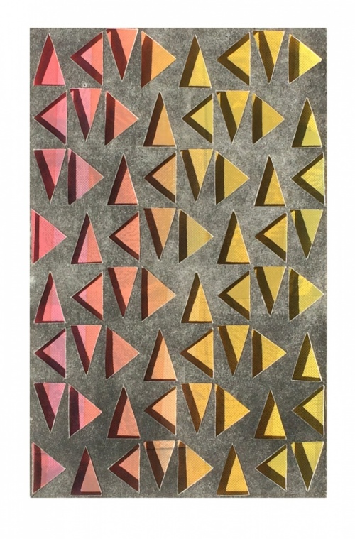 multicolor red, yellow & orange triangles in a vertical grid, seen through a top layer of dark gray. Atmospheric Triangulations #2 (Pink on Black) by Bill Brookover