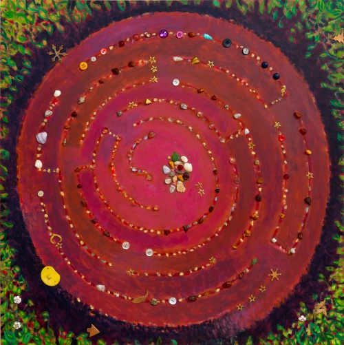 Stones & Shells Maze, Red/Blue, painting with found objects by Lesley Mitchell