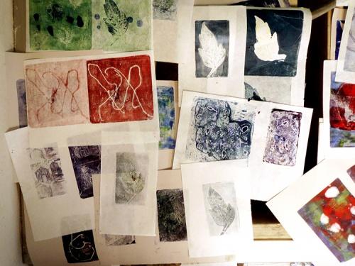 samples of student monoprints