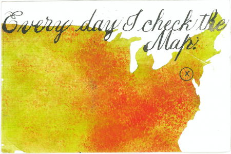 "Barbara Henry postcard ""Every Day I Check the Map"""