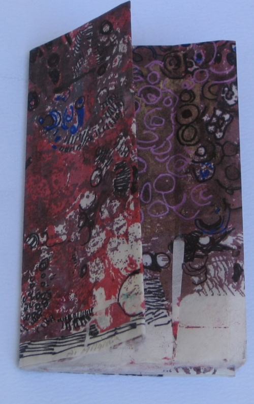 cover, one sheet book, altered collaged mono-type