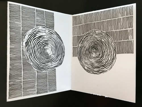 Ink drawing on paper pages 4,5