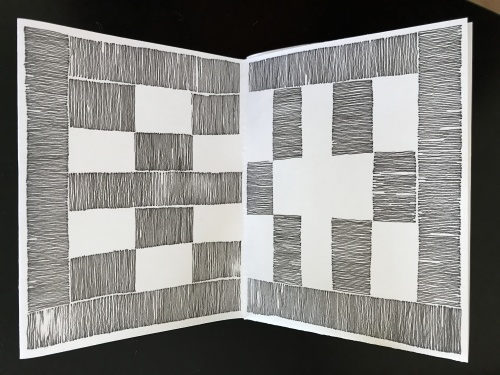 Ink drawing on paper pages 6,7