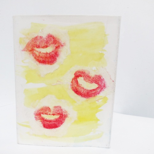 rice paper, lipstick, collage, water color