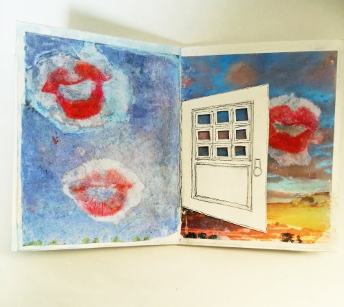 rice paper, lipstick, collage, transfer print, ink drawing, water color