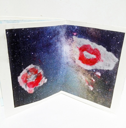 rice paper, lipstick, collage, transfer print, water color