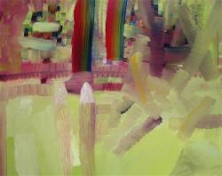 "Yaddo Rhubarb Garden, 16 x 20"", oil on panel by Josette Urso"