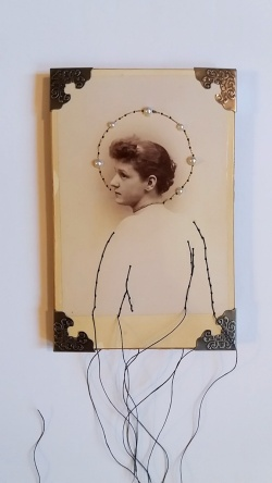 Maryann Riker - The Saint of Unfulfilled Desires - Stitched vintage cabinet card of young woman depicted as sainted icon with stitched halo of pearls