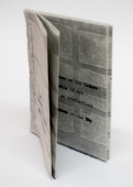 small artist book, black text on gray background, I Dwell in Possibility by Bill Brookover