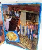 Hannukah, menorah, candle lighting, potato latkes, mirror, reflections