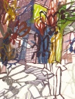 """Josette Urso, OFF and Over, watercolor on paper, 13"""" x 12.5"""""""