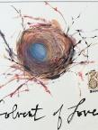 Birds nest, blue egg, text Solvent of Love