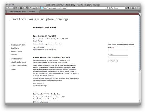 heavybubble exhibition schedule - carol eddy