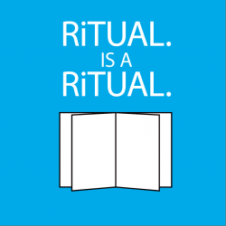 RiTUAL is A RiTUAL type in a square on bubble blue background